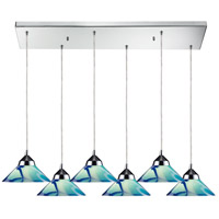 ELK 1477/6RC-CAR Refraction 6 Light 30 inch Polished Chrome Pendant Ceiling Light in Carribean Glass