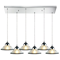 ELK 1477/6RC Refraction 6 Light 30 inch Polished Chrome Pendant Ceiling Light in Etched Clear Glass