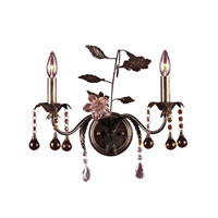 ELK 15000 Cristallo Fiore 2 Light 17 inch Deep Rust Sconce Wall Light
