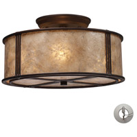 Barringer 3 Light 13 inch Aged Bronze Semi-Flush Mount Ceiling Light in Incandescent, Recessed Adapter Kit
