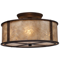 Barringer 3 Light 13 inch Aged Bronze Semi-Flush Mount Ceiling Light in Incandescent, Standard