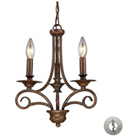 Gloucester 3 Light 12 inch Antique Bronze Chandelier Ceiling Light in Recessed Adapter Kit
