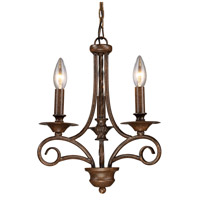 Gloucester 3 Light 12 inch Antique Bronze Chandelier Ceiling Light in Triangular Canopy