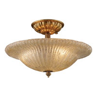 ELK Lighting Providence 3 Light Semi-Flush Mount in Antique Gold Leaf 1522/3