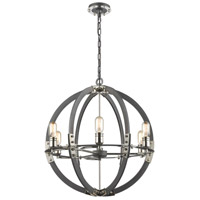 ELK 15234/6 Riveted Plate 6 Light 24 inch Silverdust Iron with Polished Nickel Pendant Ceiling Light