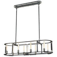 ELK 15235/8 Riveted Plate 8 Light 46 inch Silverdust Iron with Polished Nickel Island Light Ceiling Light