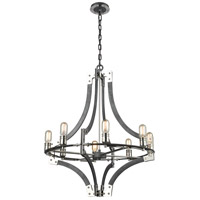 ELK 15236/8 Riveted Plate 8 Light 28 inch Silverdust Iron with Polished Nickel Chandelier Ceiling Light