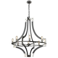 ELK 15237/8 Riveted Plate 8 Light 36 inch Silverdust Iron with Polished Nickel Chandelier Ceiling Light