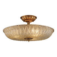 ELK Lighting Providence 3 Light Semi-Flush Mount in Antique Gold Leaf 1524/3