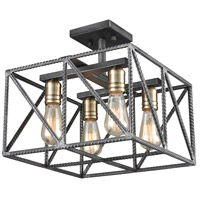 ELK 15252/4 Crossbar 4 Light 14 inch Silverdust Iron with Satin Brass Semi Flush Mount Ceiling Light