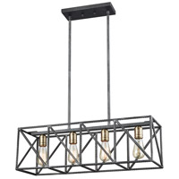 ELK 15253/4 Crossbar 4 Light 28 inch Silverdust Iron with Satin Brass Billiard Light Ceiling Light