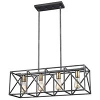 ELK 15253/4 Crossbar 4 Light 28 inch Silverdust Iron with Satin Brass Billiard Light Ceiling Light