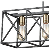 ELK 15253/4 Crossbar 4 Light 28 inch Silverdust Iron with Satin Brass Island Light Ceiling Light 15253_4_alt1.jpg thumb