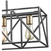 ELK 15253/4 Crossbar 4 Light 28 inch Silverdust Iron with Satin Brass Island Light Ceiling Light 15253_4_alt3.jpg thumb