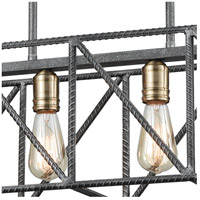 ELK 15253/4 Crossbar 4 Light 28 inch Silverdust Iron with Satin Brass Island Light Ceiling Light 15253_4_alt4.jpg thumb