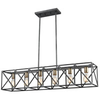 ELK 15254/6 Crossbar 6 Light 42 inch Silverdust Iron with Satin Brass Billiard Light Ceiling Light