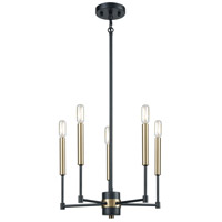 ELK 15276/5 Livingston 5 Light 17 inch Matte Black with Satin Brass Chandelier Ceiling Light