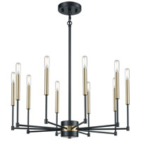 Livingston 10 Light 29 inch Matte Black and Satin Brass Chandelier Ceiling Light