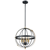 ELK 15285/4 Caldwell 4 Light 17 inch Matte Black with Satin Brass Pendant Ceiling Light