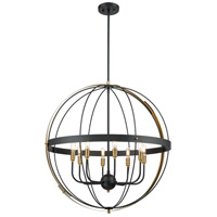 ELK 15287/8 Caldwell 8 Light 32 inch Matte Black with Satin Brass Pendant Ceiling Light