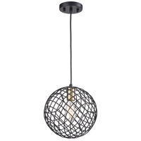 ELK 15293/1 Yardley 1 Light 10 inch Matte Black with Satin Brass Mini Pendant Ceiling Light