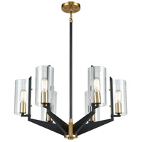 ELK 15315/6 Blakeslee 6 Light 26 inch Matte Black with Satin Brass Chandelier Ceiling Light