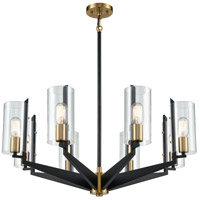 Black and Satin Brass Metal Chandeliers