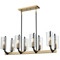 Blakeslee 8 Light 37 inch Matte Black and Satin Brass Billiard Island Ceiling Light