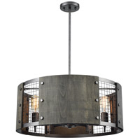 Halstead 6 Light 24 inch Ash Gray and Dark Gray Wood Pendant Ceiling Light