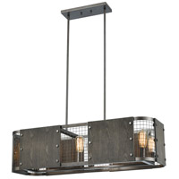 Halstead 6 Light 38 inch Weathered Rust with Dark Gray Island Light Ceiling Light