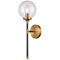 Boudreaux 1 Light 6 inch Matte Black with Antique Gold Sconce Wall Light