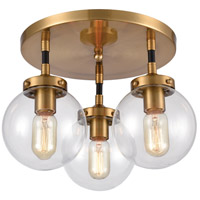 ELK 15342/3 Boudreaux 3 Light 15 inch Matte Black with Antique Gold Semi Flush Mount Ceiling Light