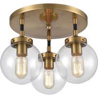 ELK 15342/3 Boudreaux 3 Light 15 inch Matte Black with Antique Gold Semi Flush Mount Ceiling Light