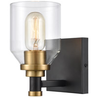 ELK 15391/1 Cambria 1 Light 6 inch Matte Black with Satin Brass Vanity Light Wall Light
