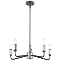 Cortlandt 5 Light 23 inch Gray Iron with Brushed Platinum Chandelier Ceiling Light