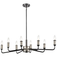 Cortlandt 8 Light 36 inch Gray Iron with Brushed Platinum Island Light Ceiling Light