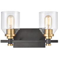 ELK 15401/2 Cambria 2 Light 13 inch Matte Black with Satin Brass Vanity Light Wall Light