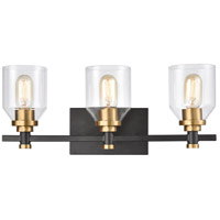 ELK 15402/3 Cambria 3 Light 20 inch Matte Black with Satin Brass Vanity Light Wall Light