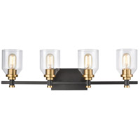 ELK 15403/4 Cambria 4 Light 28 inch Matte Black with Satin Brass Vanity Light Wall Light