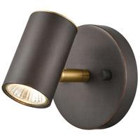 ELK 15411/1 Kempton 1 Light 6 inch Matte Black with Satin Brass Vanity Light Wall Light