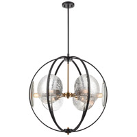 Oriah 6 Light 28 inch Matte Black with Satin Brass Pendant Ceiling Light