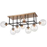 ELK 15437/8 Boudreaux 8 Light 42 inch Matte Black with Antique Gold Semi Flush Mount Ceiling Light