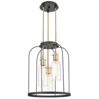 ELK 15445/3 Sheena 3 Light 16 inch Silverdust Iron with Satin Brass Pendant Ceiling Light