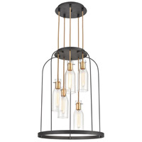ELK 15446/5 Sheena 5 Light 22 inch Silverdust Iron with Satin Brass Pendant Ceiling Light