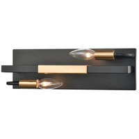 ELK 15452/2 Heathrow 15 inch Matte Black/Satin Brass Vanity Light Wall Light