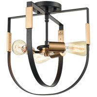 ELK 15454/3 Heathrow 14 inch Matte Black/Satin Brass Semi Flush Mount Ceiling Light