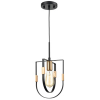 ELK 15455/1 Heathrow 8 inch Matte Black/Satin Brass Mini Pendant Ceiling Light