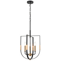 ELK 15456/3 Heathrow 14 inch Matte Black/Satin Brass Pendant Ceiling Light