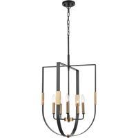ELK 15457/5 Heathrow 20 inch Matte Black/Satin Brass Chandelier Ceiling Light