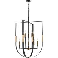 ELK 15459/10 Heathrow 28 inch Matte Black/Satin Brass Chandelier Ceiling Light